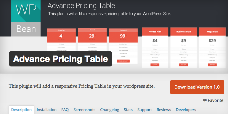 Advance Pricing Table