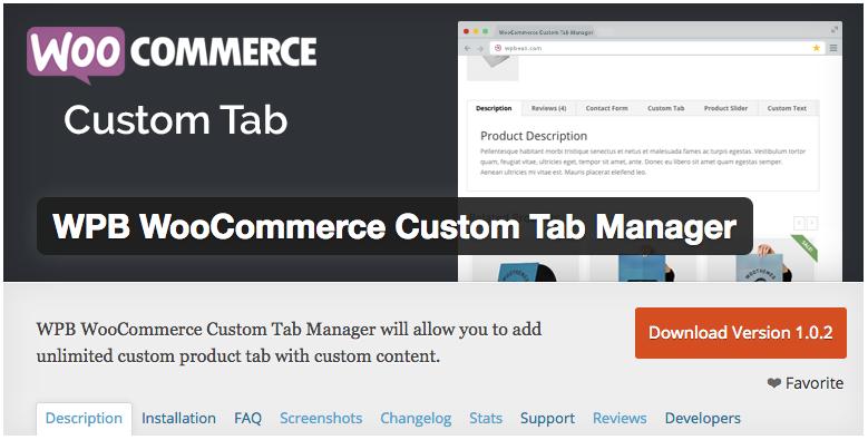 WPB WooCommerce Custom Tab Manager