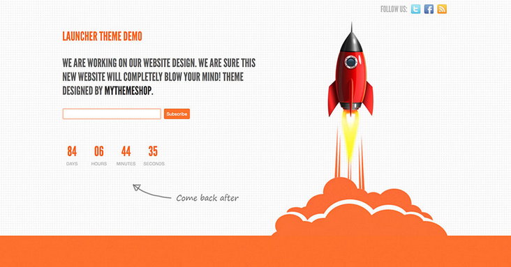 launcher wordpress coming soon website template