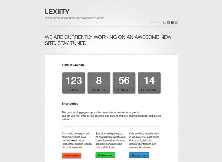lexiity wordpress coming soon website template