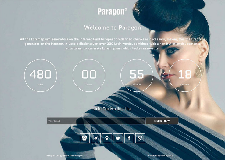 paragon wordpress coming soon website template