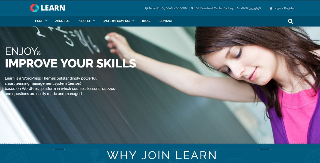 16. Learn - Education, eLearning WordPress Theme