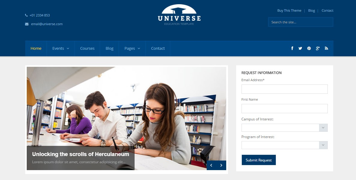 Universe - Education Responsive WordPress Theme