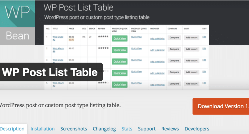 WP Post List Table